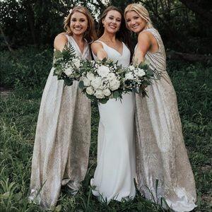 Lulu's Gold Shimmer Bridesmaid Dress